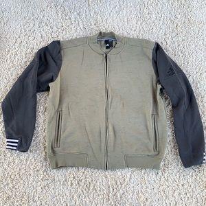 Adidas Men's Collarless Full Zip Sweatshirt Jacket Olive Green Striped Cuffs VGC